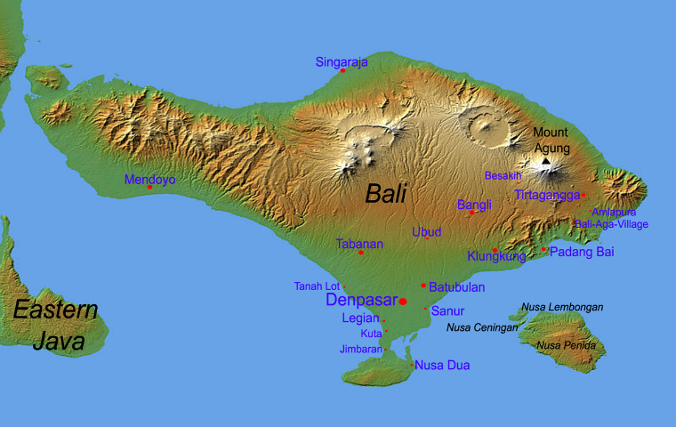 Carte Bali Superficie.Carte De Bali