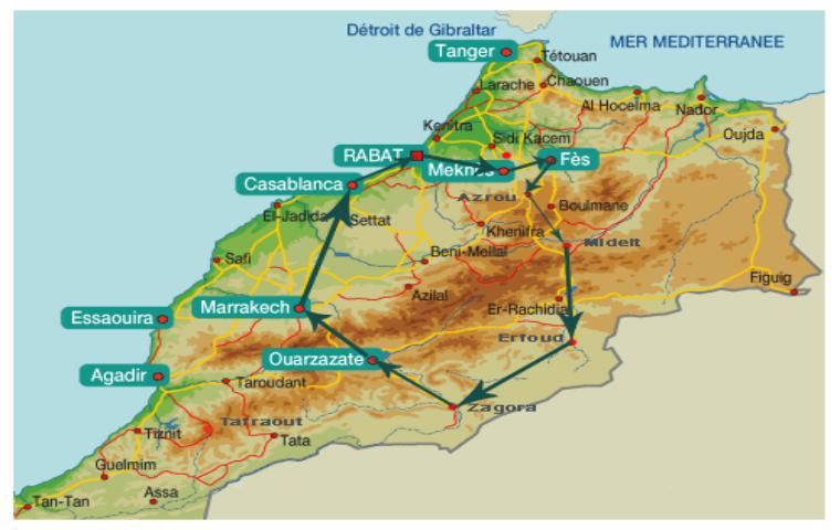 Carte Espagne Avec Kilometrage.Carte Du Maroc